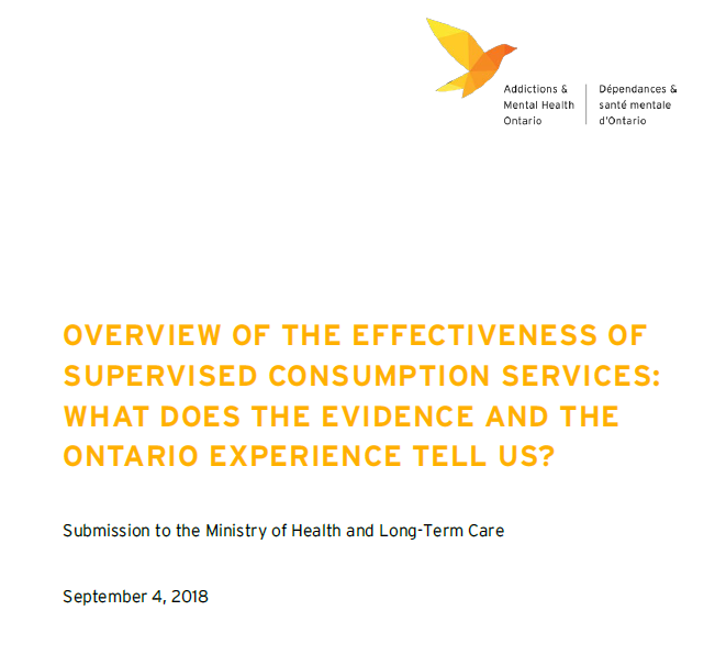AMHO Submission: What the evidence and the Ontario experience tells us about supervised consumption services