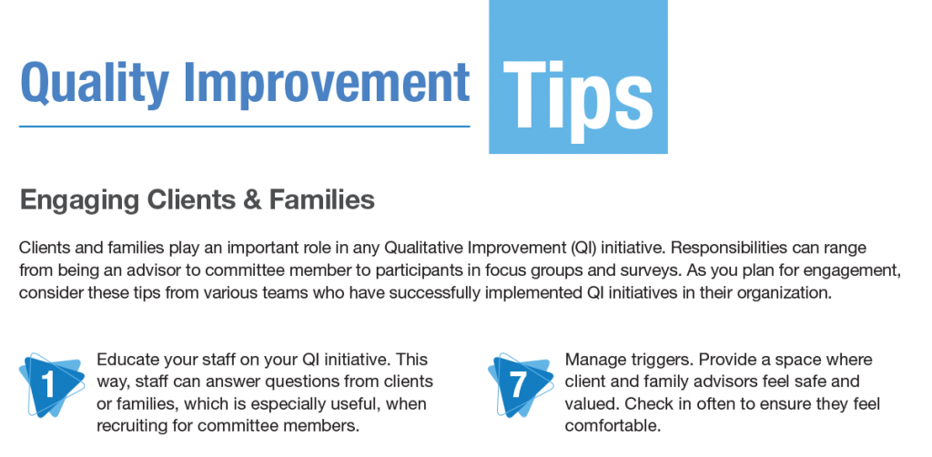 New resource available to help engage clients, families in quality improvement initiatives