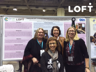 Poster presenters L to R: Debra Walko (LOFT Community Services), Sarah Warmington (Central CCAC), Sandra Mierdel (Ontario Telemedicine Network), Jill Shorrocks (Central CCAC)